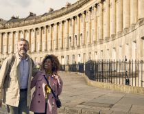 A couple enjoying the historic city of Bath, a World Heritage Site