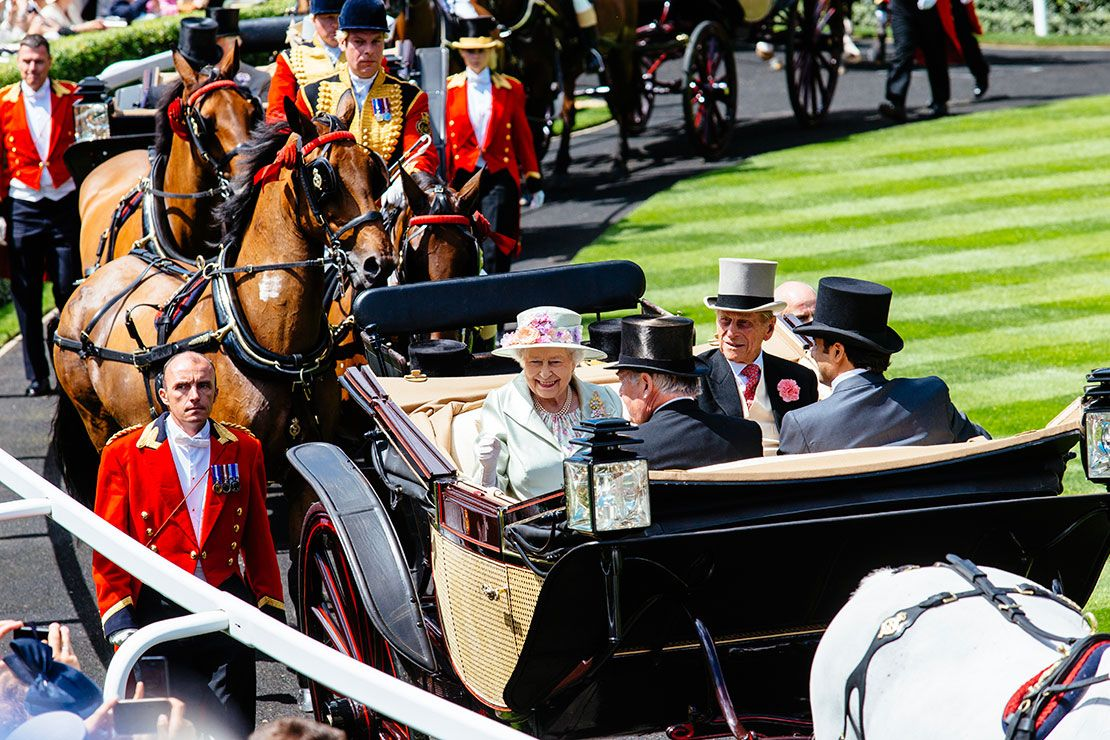 The Queen in her carriage arriving at Ascot